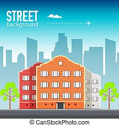 Flat buildings set. Icons background concept design. Colorful vector sity illustration
