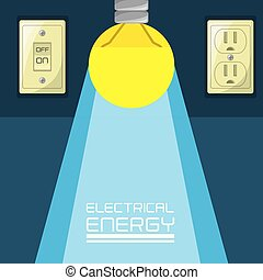 flat bulb concept electrical energy, vector illustration