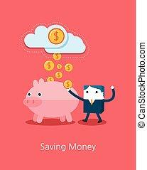 Flat Business character Series. business saving money concept