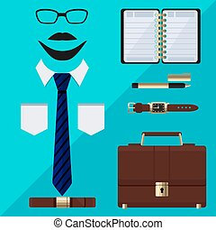 Flat business collection dress. Businessman tools