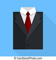Flat business jacket and tie. Black color
