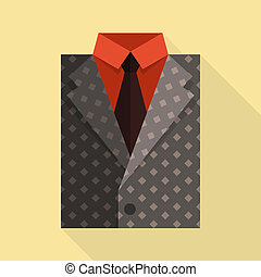 Flat business jacket and tie. Gray color