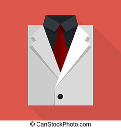 Flat business jacket and tie. White color