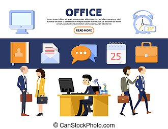 Flat Business Office Concept