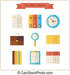 Flat Business Office Objects Set