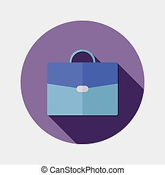 Flat business office suitcase icon