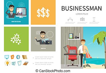 Flat Business People Infographic Template
