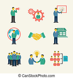 Flat business people meeting icons set