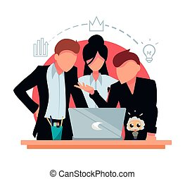 Flat business people working together to solve a task in the laptop. Employees in strict dress code suits.