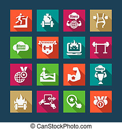 flat business success icons set