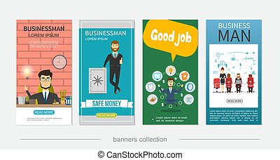 Flat Businessman Colorful Vertical Banners