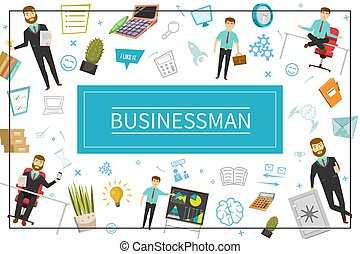 Flat Businessman Elements Concept