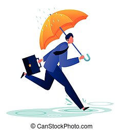 Flat businessman in a hurry to the office