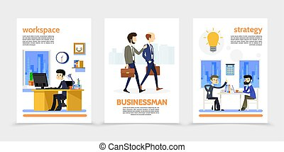 Flat Businessman Vertical Banners
