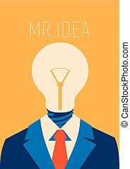 Flat businessman with light bulb instead head, idea concept