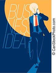 businessman with light bulb instead head, idea concept