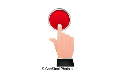 Flat button hand for web design. Push touch screen. Click button. stock illustration