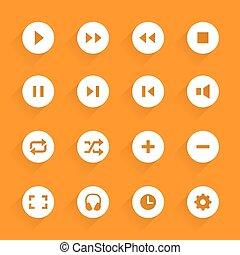 Flat buttons media. Vector