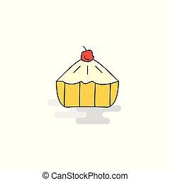 Flat Cake Icon. Vector