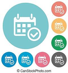 Flat calendar check icons