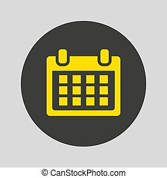 Flat calendar icon on gray background.