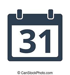 Flat calendar icon on white background.