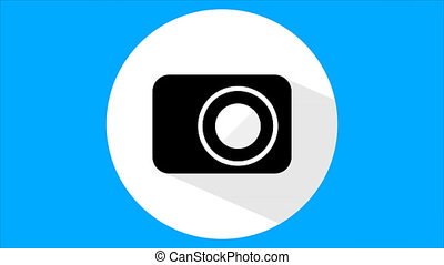 Flat camera icon - A flat camera icon, an artistic video...