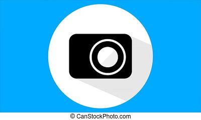 Flat camera icon - A flat camera icon, an artistic video...