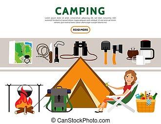 Flat Camping Elements Set