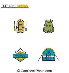 Flat camping icons