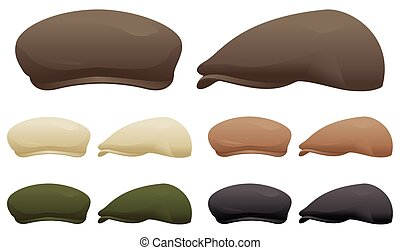 Flat cap - A selection of flat caps in various colors.