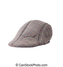 Flat cap in grey and brown tweed isolated on white background