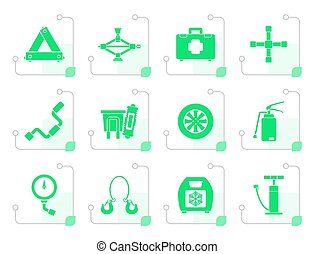 Flat car and transportation equipment icons