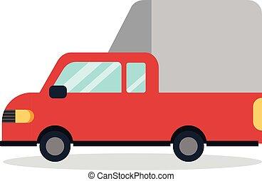 Flat car cartoon design minimal with white background vector. Red truck flat design. Thai mini truck