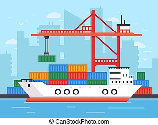 Flat cargo ship in docks. Harbor crane of shipping port loading containers to marine freight boat vector illustration