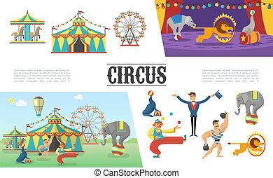 Flat Carnival Circus Elements Set