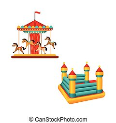 Flat carousel ride and inflatable bouncy castle