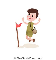 Flat cartoon boy scout character jumping with hands up near red flag