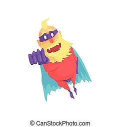Flat cartoon character of elderly superhero in flying pose....