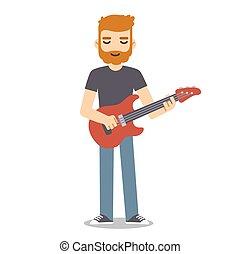 Flat cartoon guitarist