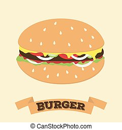 Flat cartoon hamburger symbol with banner place for text vector fast food icon illustation