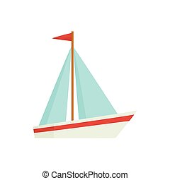 Flat cartoon little sailing ship, boat, sailboat