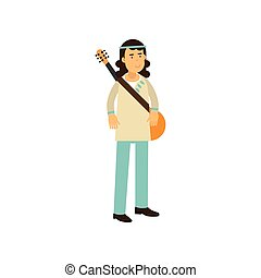 Flat cartoon man hippie with guitar. Carefree male with long...