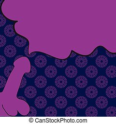 Flat cartoon penis ejaculation icon hand painted on pink color background, copyspace