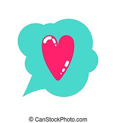 Flat cartoon pink heart and love symbol in speech bubble design element icon vector