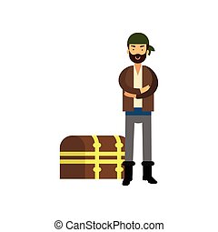 Flat cartoon pirate man character standing with arms crossed near wooden chest with treasures