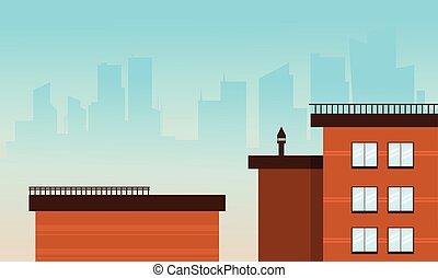 Flat cartoon style city buildings vector