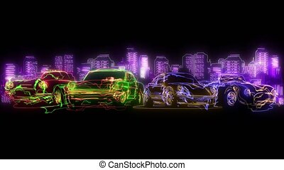 Flat cartoon style of landscape street with cars video