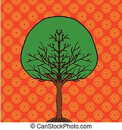 flat cartoon style tree icon on ornamental background can be used like design element