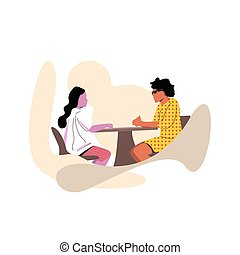 Flat cartoon vector illustration. two women sitting while discussing, hands on the table, With a white background